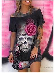 cheap -Women's T Shirt Dress Tee Dress Knee Length Dress Black Short Sleeve Print Summer Off Shoulder Hot Casual Vintage 2021 S M L XL XXL 3XL 4XL