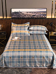 cheap -Summer Mat - 3-Piece Set / 1 Bed Sheet and 2 Pillowcases / Ultra Silky Soft Polyester / Luxury Modern Plaid Printed