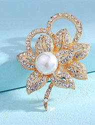 cheap -Women's Brooches Classic Flower Fashion Imitation Pearl Brooch Jewelry Silver Gold For Gift Date Festival