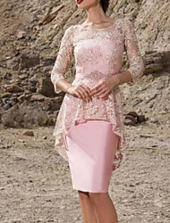 cheap -Sheath / Column Mother of the Bride Dress Elegant Jewel Neck Knee Length Lace Stretch Satin 3/4 Length Sleeve with Embroidery 2020 / Illusion Sleeve