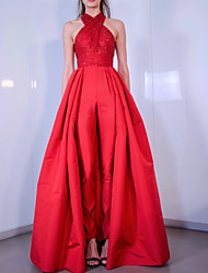 cheap -Jumpsuits Sparkle Elegant Engagement Formal Evening Dress Halter Neck Sleeveless Floor Length Satin with Criss Cross Sequin 2021