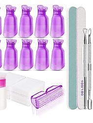 Χαμηλού Κόστους -Εργαλεία αφαίρεσης βερνικιών νυχιών σετ απορρόφησης τζελ 10pcs καπό κλιπ εκφόρτωσης πετσέτα στίλβωσης ασημένια πλατφόρμα εκφόρτωσης νυχιών καθαριστικό εργαλείο