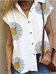 halpa -Naisten Kukka T-paita Paitapuserokaula-aukko Päivittäin Kesä Valkoinen S M L XL 2XL 3XL