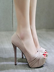 cheap -Women's Heels / Sandals Summer Stiletto Heel Open Toe Daily PU Almond / Black