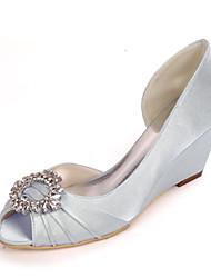 cheap -Women's Wedding Shoes Wedge Heel Peep Toe Minimalism Sweet Wedding Party & Evening Satin Rhinestone Solid Colored White Black Purple