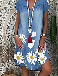 cheap -Women's Denim Dress Knee Length Dress - Short Sleeve Floral Print Summer V Neck Casual 2020 White Navy Blue M L XL XXL XXXL