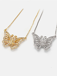 cheap -Women's Pendant Necklace Necklace Long Necklace Butterfly Korean Sweet Fashion Modern Copper Gold Plated Gold Silver 20 cm Necklace Jewelry For Party Evening Prom Birthday Party Beach Festival