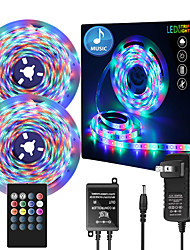 cheap -32.8ft  2 x 5 Meter Music Synchronous Happy Multicolour Light Strip 2835Waterproof RGB LED Flexible Light Strip with 20 key IR Controller Optional with Adapter Kit DC12V