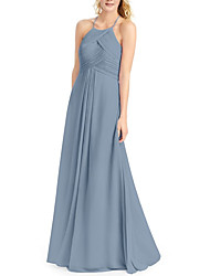 cheap -A-Line Halter Neck Floor Length Chiffon Bridesmaid Dress with Ruching