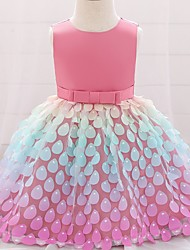 cheap -Princess / Ball Gown Knee Length Party / Wedding Flower Girl Dresses - Satin / Tulle Sleeveless Jewel Neck with Sash / Ribbon / Bow(s)