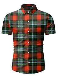 tanie -Męskie Geometric Shape Nadruk Koszula Codzienny Czerwony / Pomarańczowy / Brązowy