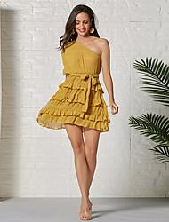 cheap -Women's Sheath Dress Short Mini Dress - Half Sleeve Solid Color Summer Casual Sexy 2020 Yellow S M L XL