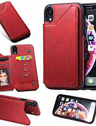 cheap -Case For Apple iPhone 11 / iPhone 11 Pro / iPhone 11 Pro Max Card Holder / with Stand Back Cover Solid Colored PU Leather