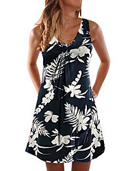 cheap -Women's A Line Dress Short Mini Dress White Black Blue Purple Wine Green Dusty Blue Sleeveless Floral Summer Round Neck Casual Mumu 2021 S M L XL XXL 3XL 4XL 5XL