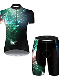 cheap -21Grams Women's Short Sleeve Cycling Jersey with Shorts Nylon Polyester Black / Green Butterfly Gradient Bike Clothing Suit Breathable 3D Pad Quick Dry Ultraviolet Resistant Reflective Strips Sports
