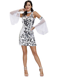 cheap -Movie / TV Theme Costumes Dress Cosplay Costume Outfits Women's Movie Cosplay Sparkle & Shine Vacation Dress White 1 Necklace Dress Sleeves Masquerade Polyester
