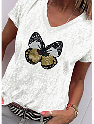 cheap -Women's T-shirt Animal Butterfly Tops - Sequins V Neck Daily White Blue Blushing Pink S M L XL 2XL