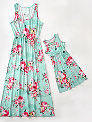 cheap -Mommy and Me Vintage Sweet Floral Geometric Color Block Print Sleeveless Knee-length Dress White