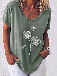 economico -Per donna Fantasia geometrica T-shirt A V Quotidiano Estate Bianco Nero Blu Rosa Verde militare Grigio S M L XL 2XL 3XL 4XL 5XL