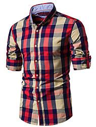 cheap -Men's Shirt Plaid Long Sleeve Daily Tops Cotton Button Down Collar Black Red Khaki