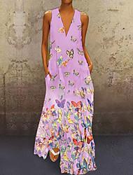 cheap -Women's Plus Size A-Line Dress Maxi long Dress - Sleeveless Animal Summer V Neck Boho Beach Slim White Purple Yellow Blushing Pink Light Blue S M L XL XXL XXXL XXXXL XXXXXL