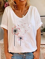 cheap -Women's Tops Floral T-shirt V Neck Daily Summer White S M L XL 2XL 3XL
