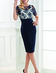 cheap -Two Piece Sheath / Column Mother of the Bride Dress Elegant Illusion Neck Jewel Neck Knee Length Spandex 3/4 Length Sleeve with Embroidery Ruching 2020