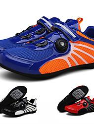 cheap -Adults' Bike Shoes Breathable Anti-Slip Mountain Bike MTB Road Cycling Cycling / Bike Red and White Blue+Orange Black / White Men's Women's Cycling Shoes