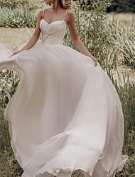 cheap -A-Line Wedding Dresses Spaghetti Strap Sweep / Brush Train Silk Chiffon Over Satin Sleeveless Simple Beach with Ruched 2021