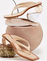 cheap -Women's Sandals Summer Decorative Heel Square Toe Daily PU Almond / Orange / Green