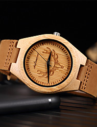 cheap -Men's Dress Watch Quartz Genuine Leather Calendar / date / day Alarm Clock Day Date Analog Fashion Cool - Brown One Year Battery Life