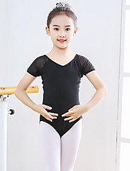 cheap -Ballet Leotard / Onesie Split Joint Girls' Training Performance Short Sleeve High Spandex Tulle