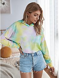 cheap -Women's Hoodie Tie Dye Basic Yellow Blushing Pink Gray S M L XL