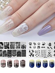 tanie -2 szt. Narzędzie do stemplowania paznokci Szablon do stemplowania Seria romantyczna Nowy projekt Nail Art Manicure Pedicure Słodki / Słodki Codziennie