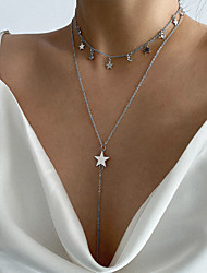 cheap -Women's Layered Necklace Stacking Stackable Star Simple Korean Copper Iron Gold Silver 30 cm Necklace Jewelry For Party Evening Birthday Party Beach