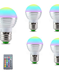 cheap -5pcs E27 E14 LED Bulb RGB Lamp 110V 220V 3W RGBW LED Light Bulb 16 Colors with IR Remote Control Bedroom Decor