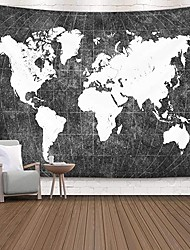 cheap -Wall Tapestry Art Decor Blanket Curtain Picnic Tablecloth Hanging Home Bedroom Living Room Dorm Decoration Black and White World Map Topography