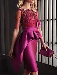 cheap -Sheath / Column Mother of the Bride Dress Elegant Jewel Neck Knee Length Satin Half Sleeve with Pleats Appliques 2020