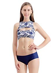 olcso -Női Tengerészkék Merész Bikini Tankini Fürdőruha Fürdőruha - Virágos Nyomtatott S M L Tengerészkék