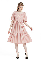 cheap -Women's Swing Dress Midi Dress - Short Sleeves Solid Color Summer Elegant Daily Holiday 2020 Wine Black Blushing Pink Light Green S M L XL XXL