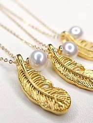 cheap -Women's White Freshwater Pearl Pendant Necklace Lockets Necklace Classic Feather Vintage Trendy Romantic Ethnic 14K Gold Plated Gold 45 cm Necklace Jewelry 1pc For Party Evening Formal Engagement