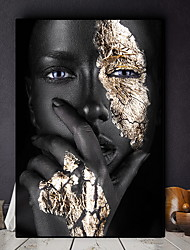 cheap -African Art Black and Gold Woman Oil Painting on Canvas Cuadros Posters and Prints Scandinavian Wall Art Picture for Living Room