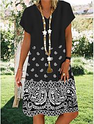 cheap -Women's Shift Dress Knee Length Dress - Short Sleeves Geometric Print Summer V Neck Casual Daily 2020 Black M L XL XXL XXXL