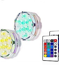 cheap -2pcs 5 W Submersible Lights Underwater Lights Waterproof  Remote Controlled  Dimmable Change 1.2 V Suitable for Vases & Aquariums 10 LED Beads
