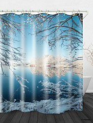 cheap -Lake Snow Scene Digital Print Waterproof Fabric Shower Curtain for Bathroom Home Decor Covered Bathtub Curtains Liner Includes with Hooks
