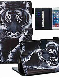 Недорогие -чехол для apple ipad mini 3/2/1 / ipad mini 4 / ipad mini 5 кошелек / визитница / с подставкой для всего тела чехлы черно-белый тигр искусственная кожа / тпу