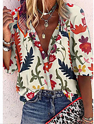 cheap -Women's Blouse Shirt Floral Pattern Graphic Long Sleeve Shirt Collar Tops Basic Top White Red