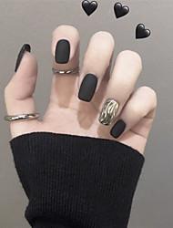 cheap -30pcs Plastics Matte False Nails smoke black water corrugation fake fingernails wearing manicure product stickers