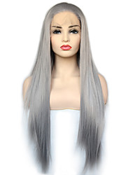 cheap -Vogue Queen Grey Long Straight Synthetic Lace Front Wig Heat Resistant Fiber Daily Wearing For Women