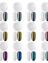 Χαμηλού Κόστους -12 κουτιά σετ καθρέφτη σετ νυχιών χρωμίου χρώματος κελύφη σκόνης diy glitter μανικιούρ χρυσό ασημί μπλε μοβ διακοσμητικές συμβουλές